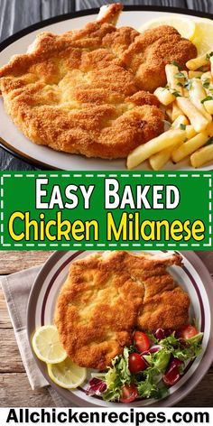 Baked Chicken Milanese Recipe, Easy Baked Chicken, Chicken Recipes, Meat Recipes, Healthy Eating Recipes, Cooking Recipes, Healthy Food, Veal Milanese