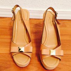 Kate Spade Devi Wedges size 10 Kate Spade Devi Wedges NWOT.  Linen covered 4.5'' heel with 1'' platform Size 10 regular retail is $258.00 kate spade Shoes