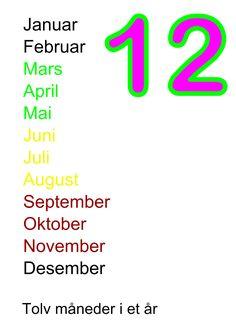 Nazwy miesięcy w języku norweskim