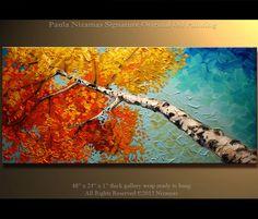 "Original Oil Abedul Pintura al óleo moderna Pintura Abedul plateado Paleta del paisaje del cuchillo de Nizamas 48 ""x 24"" listo para colgar"