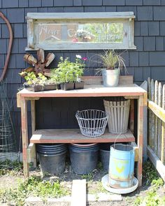 We transformed some old wood pieces found in our garage when we moved here into a great potting table for the vegetable garden and topped it with a mirror. Old Wood Table, Wooden Dining Tables, Pallet Shed, Globe Decor, Rustic Art, Pallet Furniture, Painted Furniture, Outdoor Furniture, Furniture Ideas