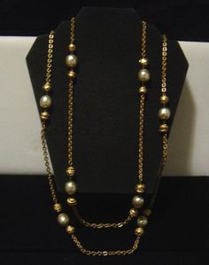 """Vintage lovely Miriam Haskell chain Necklace with Baroque Pearls 59"""" long #unsignedMiriamHaskell #Classic"""