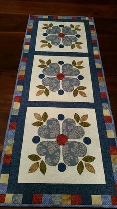 Fall Table Runner, Quilted Table Runner, Narrow Table Runner, 11 x 39 Patchwork Table Runner, Table Runner And Placemats, Table Runner Pattern, Quilted Table Runners, Small Quilts, Mini Quilts, Lap Quilts, Patchwork Quilting, Applique Quilts