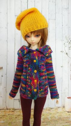 hand knitted Cardigan with Hat in autumn by InaPlusAlina on Etsy