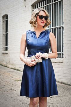 Metallic faux leather fit and flare dress...