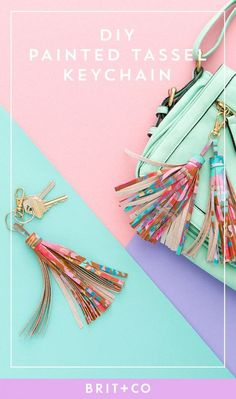 Swooning over this colorful DIY tassel keychain. Diy Leather Tassel, Leather Tassel Keychain, Diy Tassel, Tassels, Diy Mother's Day Crafts, Weekend Crafts, Cute Mothers Day Gifts, Mothers Day Crafts For Kids, Diy Holiday Gifts