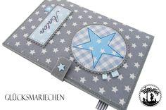 """U-Hefthüllen - 2 in 1 U-Heft Hülle """"STAR"""" - grau/blau - ein Designerstück von Gluecksmariechen bei DaWanda"""