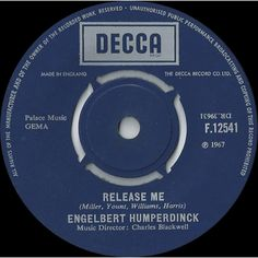 "7"" 45RPM Release Me/Ten Guitars by Engelbert Humperdinck from Decca"