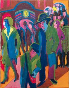 By Ernst Ludwig Kirchner Straße mit Passanten bei Nachtbeleuchtung, 1926/27, oil on canvas.