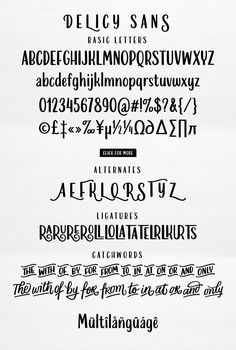 Introducing Delicy, a font comes with an attractive package that combines three different font styles; script, sans and ornaments. With Delicy, you will Calligraphy Fonts, Modern Calligraphy, Different Font Styles, Illustrator Cs, Handwriting Fonts, Graphic Design Projects, Cool Fonts, Glyphs, Script