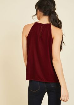 Stay a step ahead with our women's blouses for work, weekend and beyond at ModCloth! Velvet Tops, Size 00, Modcloth, Hue, Blouses For Women, Perfect Fit, Tank Tops, My Style, Festive