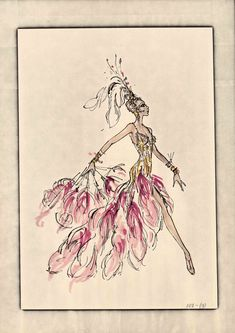 """A Robert Gordon Mackie and Ray Aghayan costume design drawing for the show Hallelujah Hollywood! at the MGM Grand Hotel and Casino in Las Vegas, 1974. The drawing features a showgirl donning a gold costume with a pink feathered train and matching fan. Image is part of UNLV Libraries """" Showgirls"""" digital collection."""