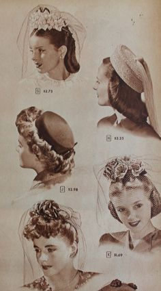 1944, hair flowers with veils as an alternative to hats
