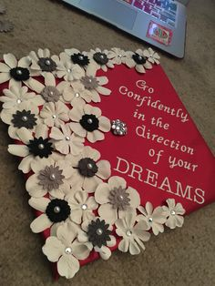 Flower Graduation Cap, Miami University, go confidently in the direction of your dreams, graduation, senior, flowers, rhinestones, red, white, black, grey, gray, pretty