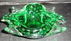 "Murano Bullicante Green Art Glass w/ Controlled Bubbles 8"" long Vintage"