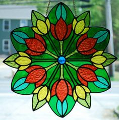 Stained Glass Tulips Rondel Panel Tiffany by DodgeGlassStudio, $350.00