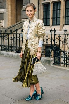 Metallic midi skirt and Gucci pumps.