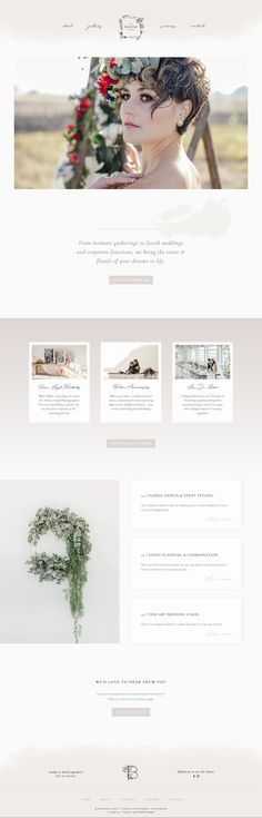 The Bloom Event — website design, wedding planner, floral stylist, event planner, feminine, whimsical, dreamy, watercolor, fine art, minimal, clean, web design.