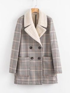 Double Breasted Sherpa Lined Plaid Coat -SheIn(Sheinside)