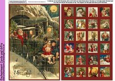 Another of my advent calendar sheets this time based on vintage images of Santa.  Click on my name to view more of my designs