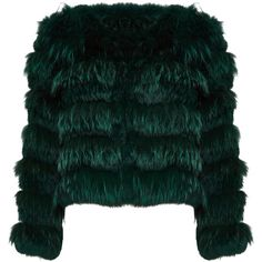 Alice + Olivia Fawn Fur Jacket found on Polyvore featuring outerwear, jackets, green jacket, fur jacket, teal jacket and green fur jacket