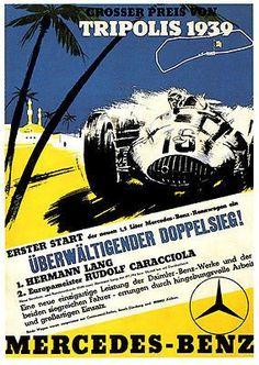 1939 Tripoli Grand Prix - Mercedes Benz - Promotional Advertising Poster