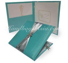 Starfish Rhinestone Brooch Embellished Wedding Invitation Silk Pocket Folder With Tiffany Blue Silk & Silver Ribbon For Wholesale By Wedding Invitation Designer
