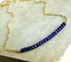 Lapis and Gold Strand Necklace, necklaces, Gold Filled Chain and Lapis Necklace,Semi Precious Stone Necklace, necklaces, Fine Jewelry