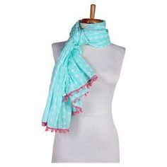 """Organic cotton scarf with a linked dots print.   Product: ScarfConstruction Material: Organic cottonColor: AquaFeatures:  LightweightPom-pom trim Dimensions: 25"""" x 74"""" Cleaning and Care: Machine wash cold. Tumble dry low."""