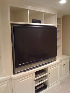 Built-in Media Cabinet...depending on how the house is...but with dogs, and eventually kids it would be nice to have the tv secure