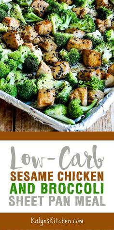 Low-Carb Sesame Chicken and Broccoli Sheet Pan Meal is an easy dinner that's als. Low-Carb Sesam H Low Carb Meal Plan, Low Carb Dinner Recipes, Low Carb Diet, Diet Recipes, Chicken Recipes, Cooking Recipes, Healthy Recipes, Cooking Courses, Juice Recipes