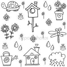 Lente doodles set met hand loting — Stockillustratie #135893450
