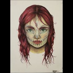 """Dany Lizeth """"We're monsters on the inside""""  #portrait #OC #redhead #monster #musicinspired #facialtattoo #drawing #draw #art #girl #intense #deep #prismacolor #coloredpencils #humanissues https://m.facebook.com/dlizart"""