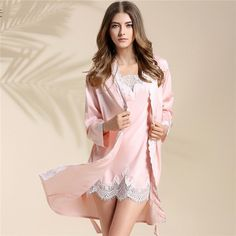Spring And Autumn Season Lace Silk Home Furnishing Serve Sexy Pajamas Woman Summer Clothes Thin Homewear Sleeve Two Pieces Suit