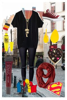 """""""#PrayforBrussels"""" by dsarayu on Polyvore featuring WithChic, STELLA McCARTNEY, Smartwool, Converse, Aéropostale, Kim Rogers, Cufflinks, Inc., Maybelline, Giorgio Martello and Wouters & Hendrix"""