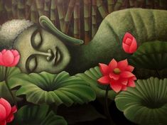 Budha Painting, Kerala Mural Painting, Indian Art Paintings, Modern Art Paintings, Canvas Paintings, Buddha Drawing, Doodle Art Drawing, Buddha Artwork, Composition Painting
