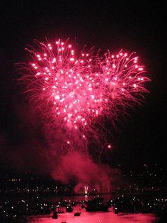 pink heart fireworks