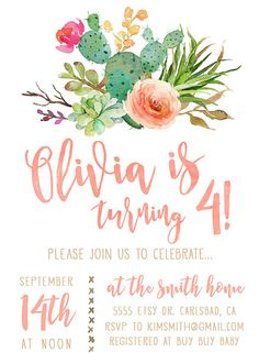 boho girl birthday invitation with watercolor cactus and flowers
