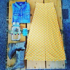 Pair your polk maxi skirt with chambray & combat boots for an edgy flirty look  www.adornitstyle.blogspot.com #adornitshoppe