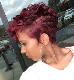 42 New Ideas Hair Short Styles Pixie Curls Colour Short Sassy Hair, Short Hair Cuts, Pixie Cuts, Short Burgundy Hair, Short Curly Pixie, Edgy Pixie, Short Grey Hair, Burgundy Color, Curly Hair Styles