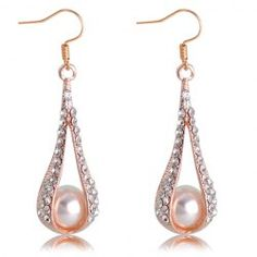 $3.19 Pair of Sweet Water Drop Shape Diamante Openwork Pendant Faux Pearl Embellished Earrings For Women