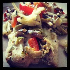 Tonight's dinner! Roasted halibut & veggies! Fennel, red bell peppers, green onions, shiitake mushrooms, olives, garlic, lemon juice & olive oil. Yum! | www.MommyHiker.com