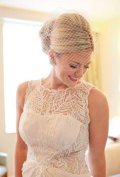 Tadashi Shoji wedding dress and birdcage veil