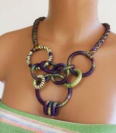 Random Circles Necklace Eggplant. $48.00, via Etsy.