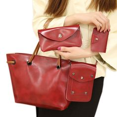 Fashion 4 Pcs Set Women PU Leather Bag Casual Solid Handbags Shoulder Bag  Messenger Bags BS88. Yesterday s price  US  24.16 (19.91 EUR). be1e2dd1c9