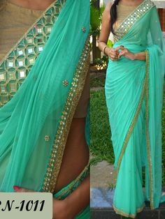 Buy Sea Green Saree with Pearl Motifs at Rs. Get latest Party Wear Saree for womens at peachmode. Bollywood Stars, Indian Bollywood, Bollywood Party, Indian Dresses, Indian Outfits, Pearl Work Saree, Mirror Work Saree, Indische Sarees, Party Kleidung