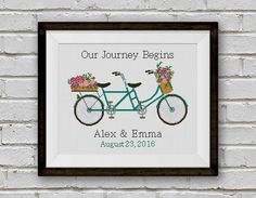 BOGO FREE Tandem Bicycle Cross Stitch Pattern Custom by StitchLine