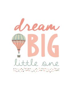 Dream Big Little One Nursery Wall Art Poster, Hot Air Balloon Girl Coral & Mint Bedroom Decor Nursery Prints, Nursery Wall Art, Girl Nursery, Girl Room, Wall Prints, Nursery Ideas, Nursery Canvas, Nursery Quotes, Room Baby