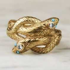 Art Deco 14k Gold Diamond and Turquoise Snake by ArtifactVintage, $1800.00