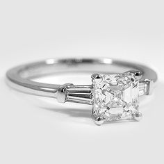 Platinum Tapered Baguette Diamond Ring //   Set with a 1.21 Carat, Asscher, Ideal Cut, G Color, VS1 Clarity Diamond #BrilliantEarth